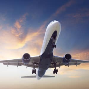 Startendes Verkehrsflugzeug